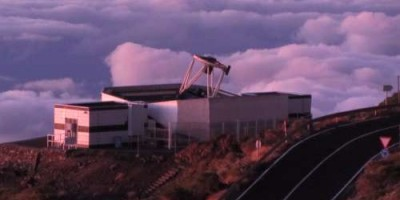 The Liverpool Telescope, open at sunset, Roque de Los Muchachos observatory