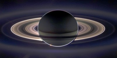 Saturn and its rings backlit, taken by NASA's Cassini missionon Sept. 15, 2006