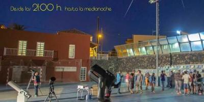 La Polvacera basketball court, full of telescopes. Breña Baja