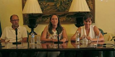 Asteroid day talk: Left to right: Massimo Cecconi, Elena Nordio, y Vania Lorenzi. Palacio Salazar, Santa Cruz de La Palma