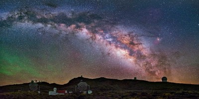 The observatory at the Roque de Los Muchachos at night. Credit: Daniel Lopez. ASCII Kolor stitching | 4 pictures | Size: 8667 x 4915 | FOV: 120.27 x 68.20 ~ 24.43 | RMS: 2.75 | Lens: Standard | Projection: Spherical | Color: LDR |