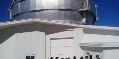 An international group of teenagers visiting GTC, Roque de Los Muchachos, La Palma