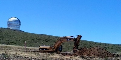 Digging foundations for the Large Size Telescope, Roque de Los Muchachos, La Palma 17/08/2016