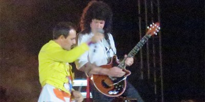 'Freddie' and 'Brian' jamming, God Save The Queen concert in Tazacorte