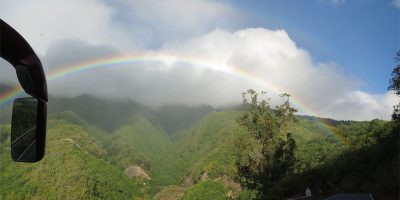 Rainbow on the wy tot he Cumbre tunnel, BrenaAlta, La Palma