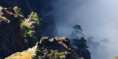A ledge in the wallof the Caldera deTaburiente, La Palma island