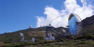 The Large Size Telescope with the mirror finally uncovered and the camera finally in place, Roque de Los Muchachos, La Palma